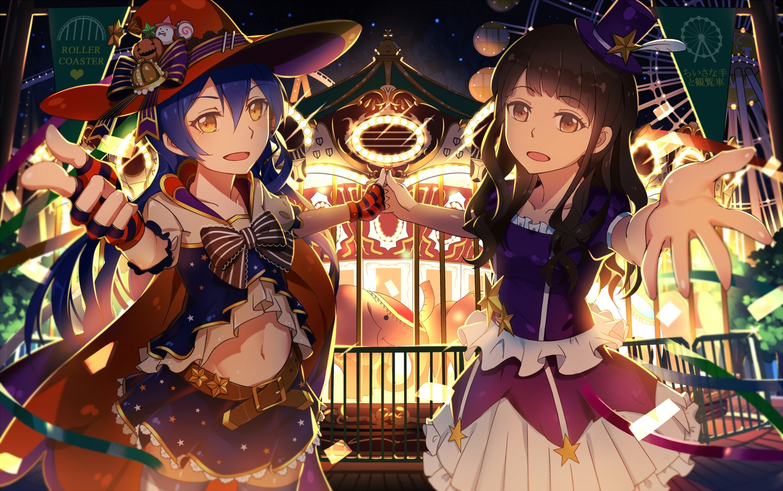 2girls blue_hair bow brown_hair gloves halloween hat love_live!_school_idol_project lu'' mimori_suzuko navel ribbons skirt sonoda_umi witch_hat