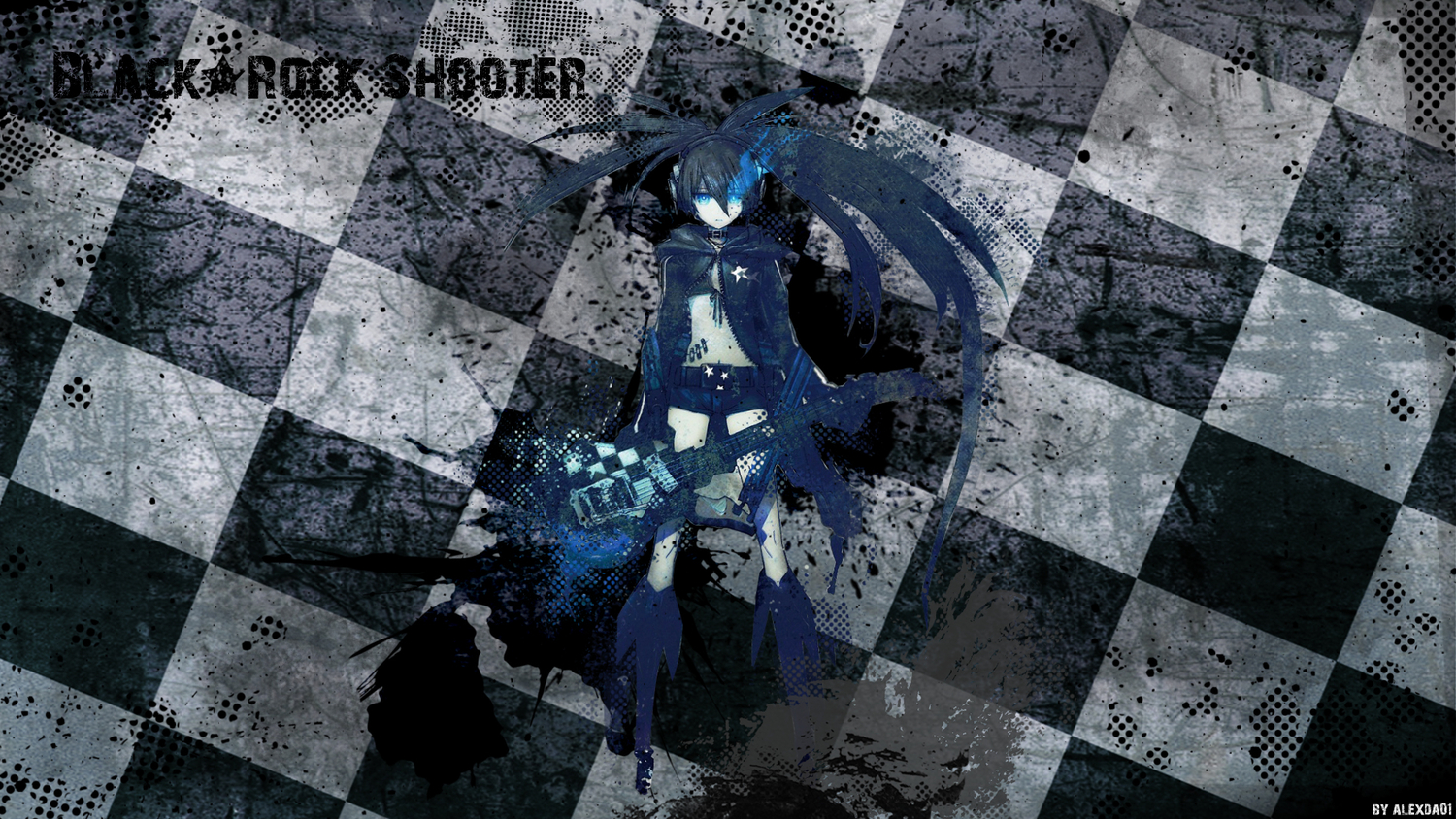 black_rock_shooter guitar instrument kuroi_mato