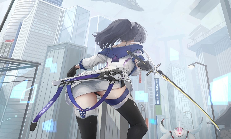 aliasing ass black_hair building choker city gloves honkai_impact kikivi long_hair panties ponytail raiden_mei skirt sword thighhighs underwear weapon