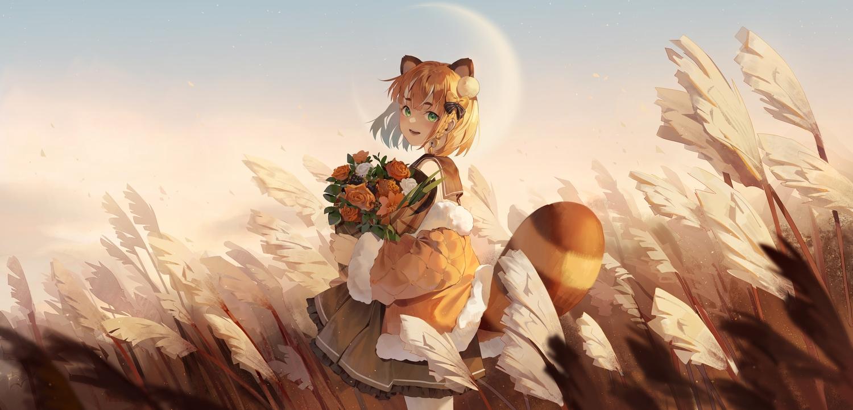 animal_ears bell braids flowers green_eyes ji_dao_ji moon orange_eyes school_uniform short_hair skirt sky tagme_(character) tail