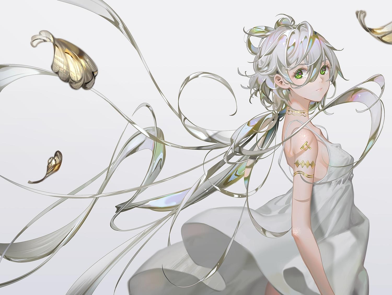 choker dress gray gray_hair green_eyes long_hair luo_tianyi no_bra polychromatic summer_dress tidsean vocaloid vsinger
