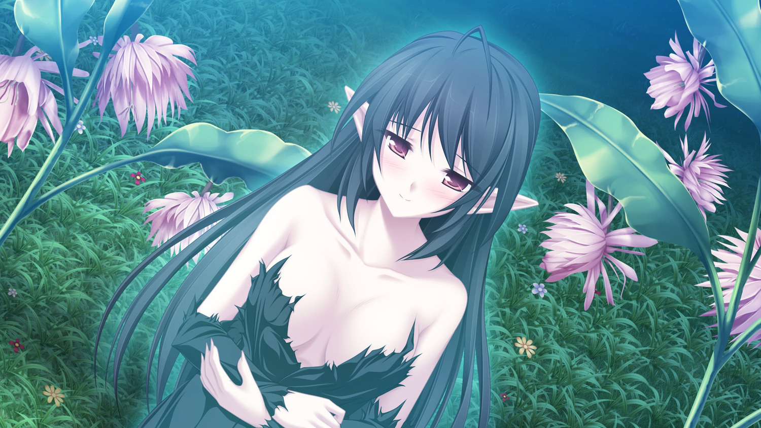 black_hair elf fuu_(suzukaze_no_melt) game_cg long_hair maikaze_no_melt red_eyes tenmaso whirlpool