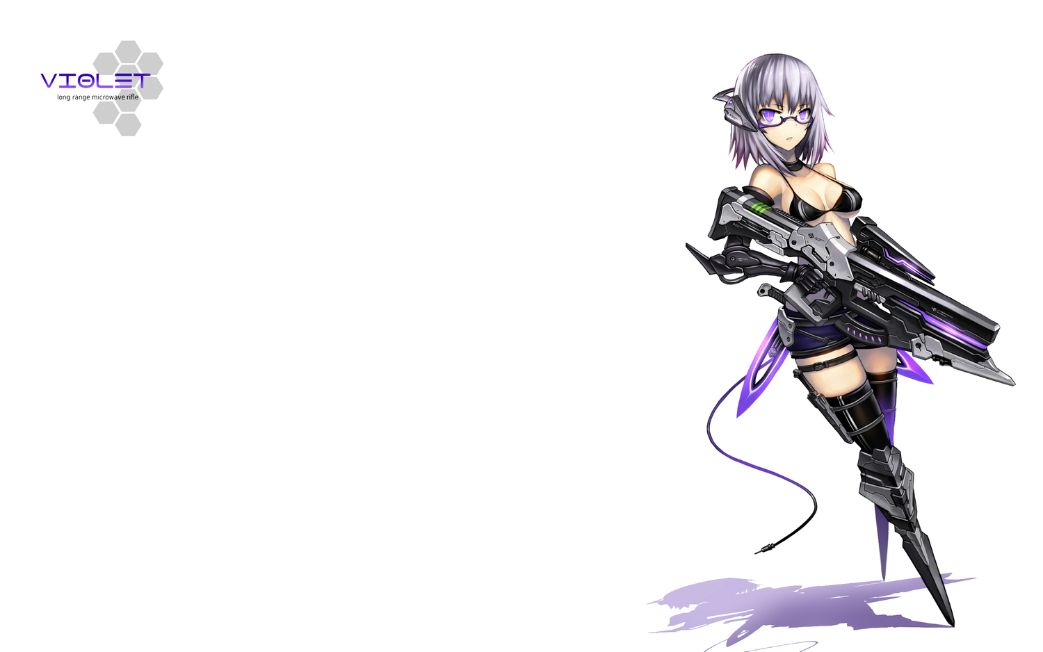 bikini_top gia glasses gun original purple_eyes purple_hair short_hair weapon white