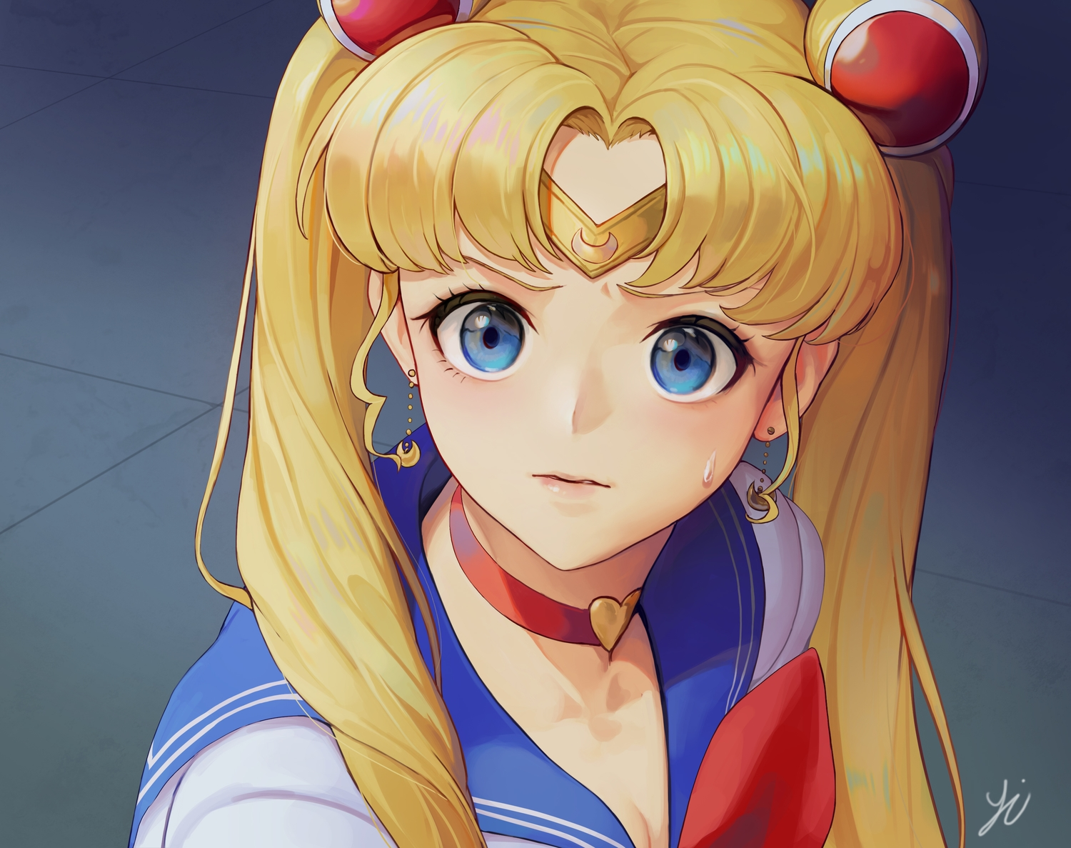 blonde_hair blue_eyes choker close headband long_hair parody sailor_moon sailor_moon_(character) school_uniform signed tsukino_usagi twintails y.i._(lave2217)