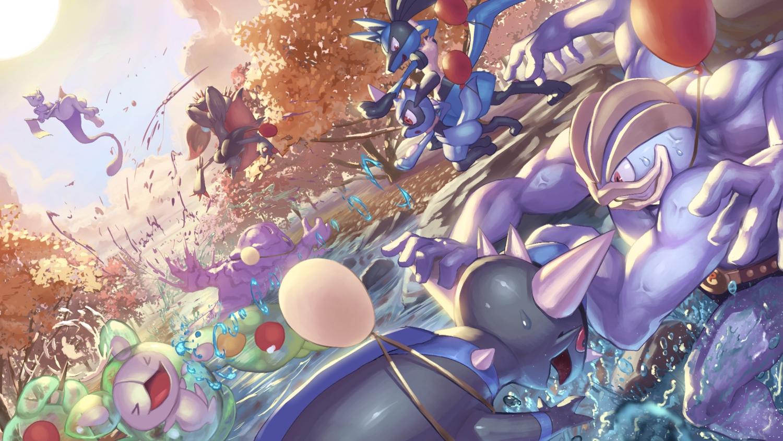 autumn forest lucario machamp mewtwo muk nobody pokemon rampardos reuniclus riolu spareribs tree water zoroark