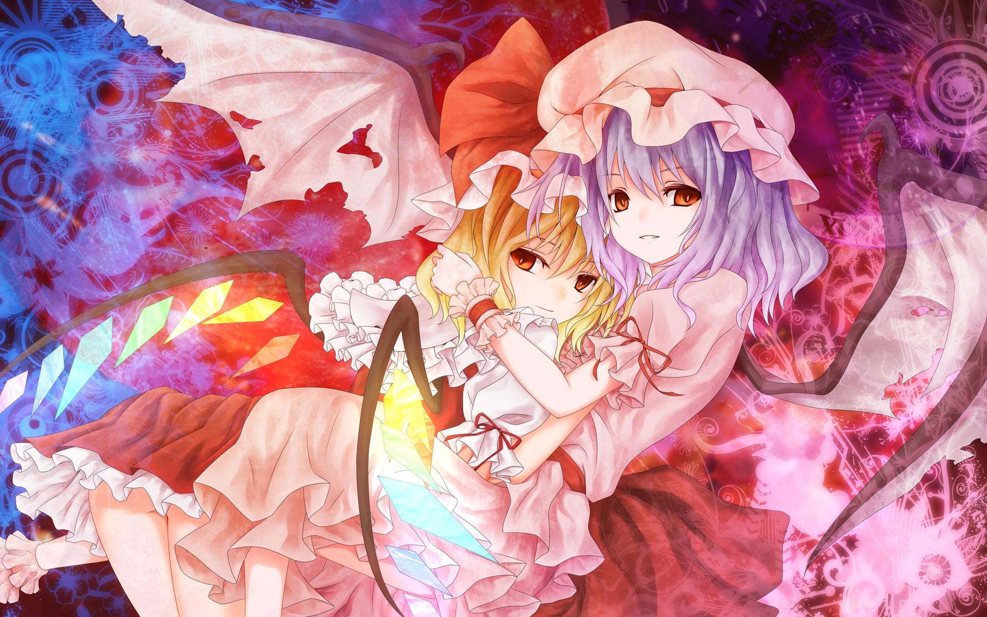 blonde_hair dress flandre_scarlet kamumiya purple_hair red_eyes remilia_scarlet ribbons short_hair touhou vampire wings