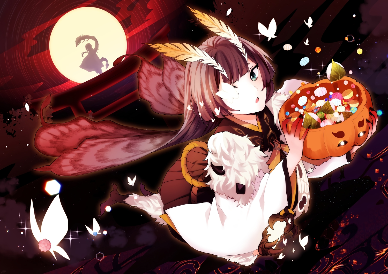 annerica brown_hair butterfly candy green_eyes halloween japanese_clothes long_hair moon mushishi_(onmyouji) night onmyouji sky torii wings