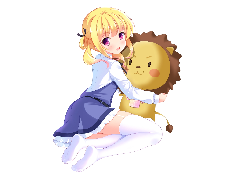 bashen_chenyue blonde_hair blush dress gi(a)rlish_number purple_eyes shirt short_hair sonou_momoka thighhighs white zettai_ryouiki