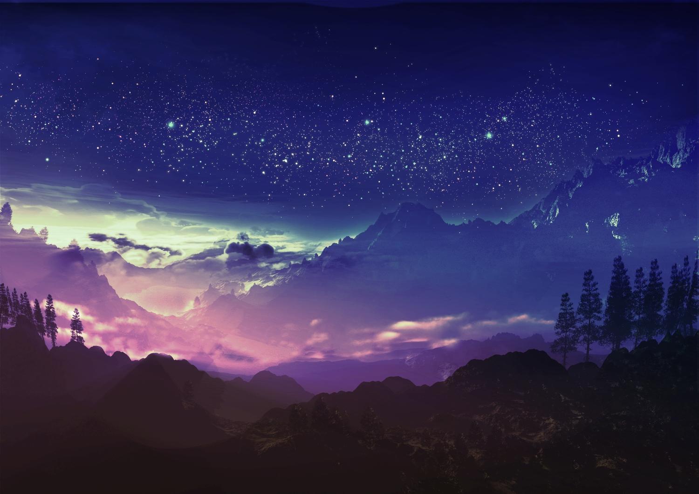 3d clouds forest landscape original scenic sky stars tree y-k