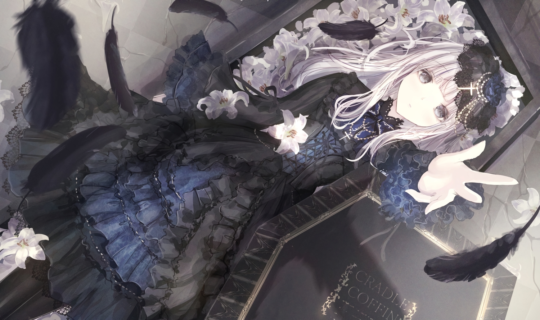 apple228 cross dress feathers flowers goth-loli gray_eyes lolita_fashion original white_hair