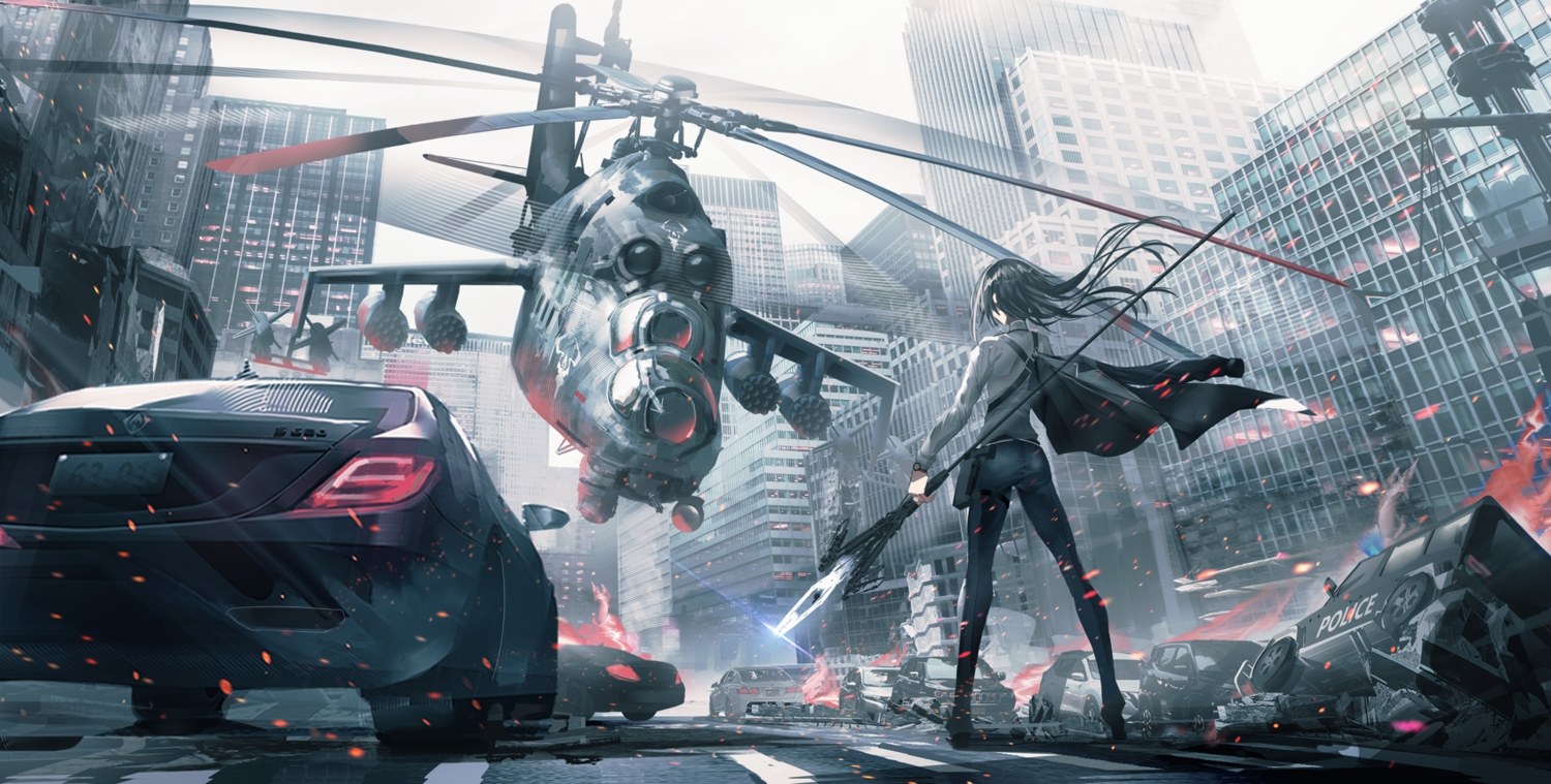aircraft black_hair building car city combat_vehicle long_hair original spear swav weapon