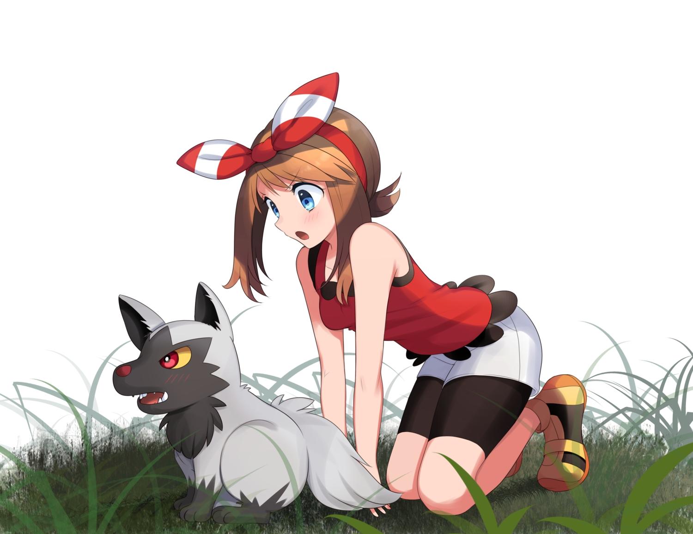 aqua_eyes bike_shorts brown_hair grass haruka_(pokemon) headband pokemon poochyena shorts white yuihiko