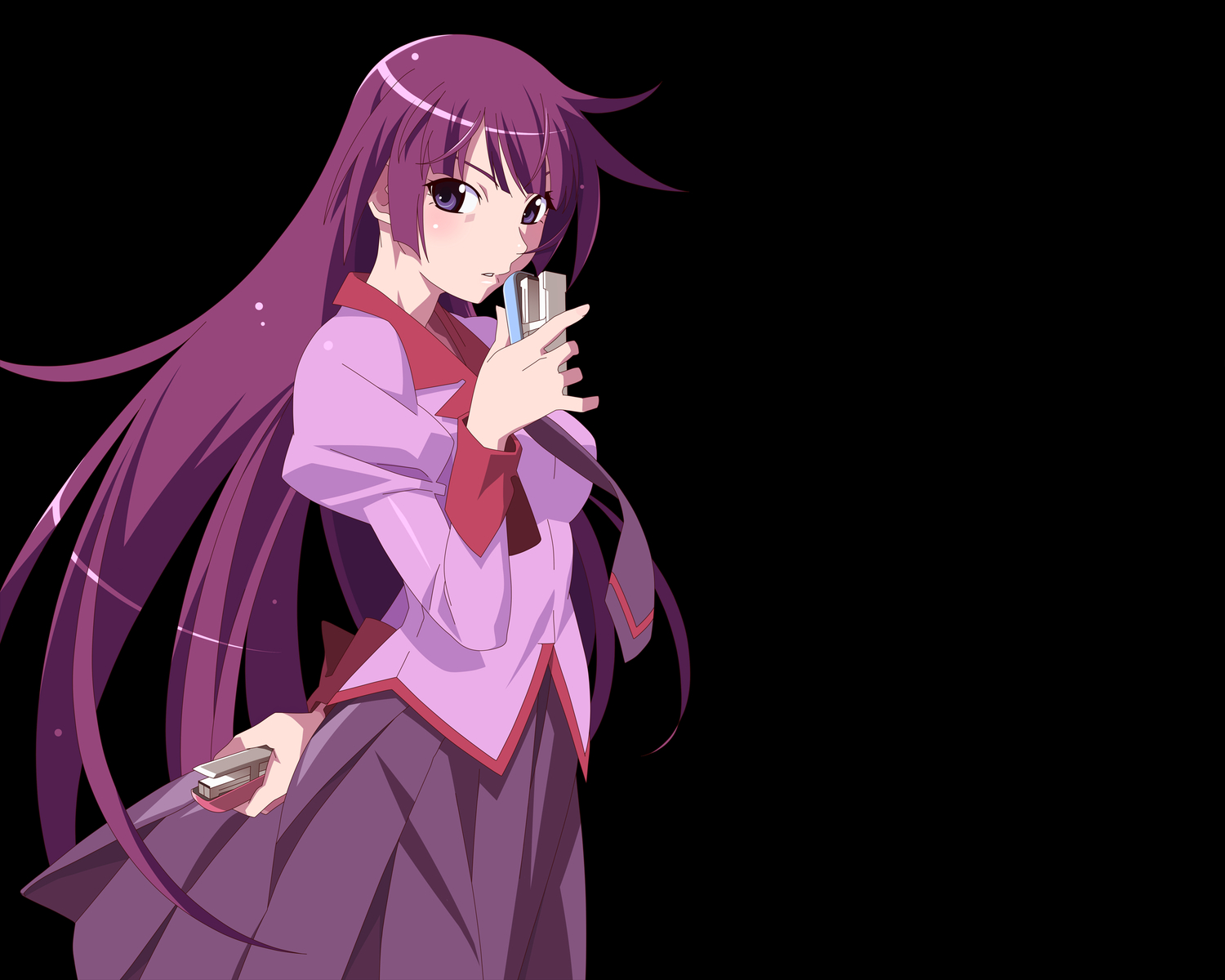 bakemonogatari long_hair monogatari_(series) purple_hair seifuku senjougahara_hitagi transparent vector