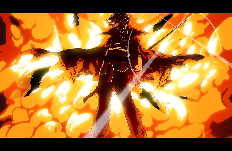 blue_hair cape fire glasses kamina sword tengen_toppa_gurren_lagann weapon yumiya