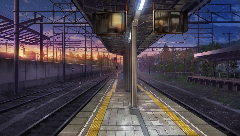 ano_natsu_de_matteru building city clouds nobody nzwt scenic sky sunset train tree
