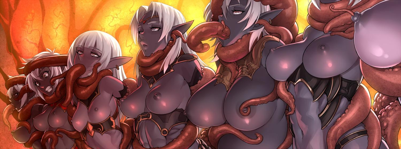 armor breast_grab breasts brown_eyes dark_skin gray_eyes group long_hair mikoyan navel nipples original pointed_ears short_hair tentacles waifu2x white_hair