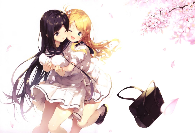 2girls hug long_hair original scan school_uniform senji_(tegone_spike) shoujo_ai socks