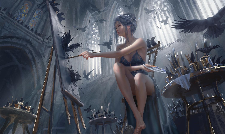 animal barefoot bird blue_eyes breasts cleavage dress ghostblade gray_hair necklace pointed_ears princess_yan short_hair tiara wlop