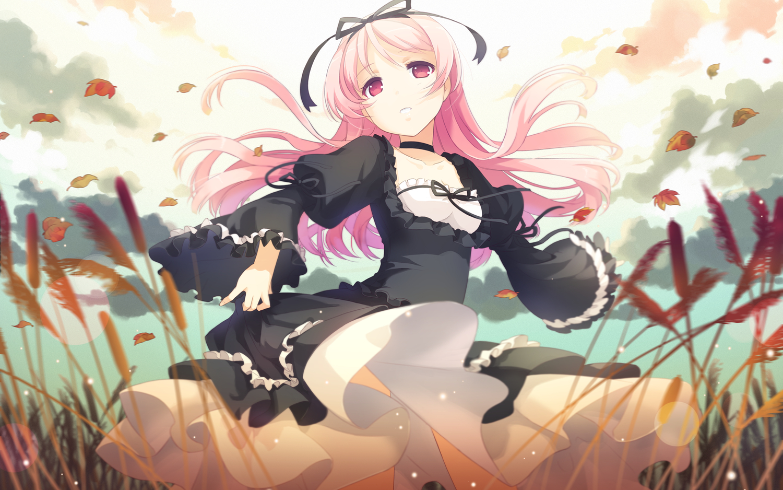 autumn dress garden_(galge) h2so4 himemiya_ruri leaves pink_hair