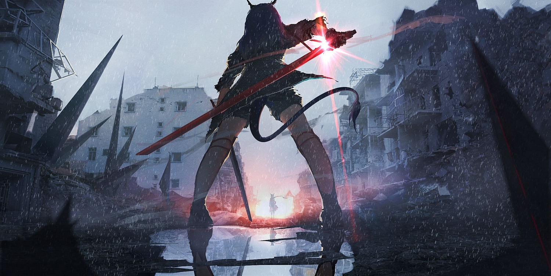 arknights ch'en_(arknights) gloves lifeline rain reflection ruins sword tail water weapon