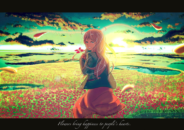 clouds dress flowers long_hair original petals samidare_(okayou) scenic sky sunset water