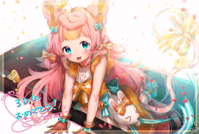animal animal_ears aqua_eyes blush bow cat_smile dress korone_pochi loli long_hair modoki_kuma mouse mousegirl pink_hair rabbit signed tail translation_request