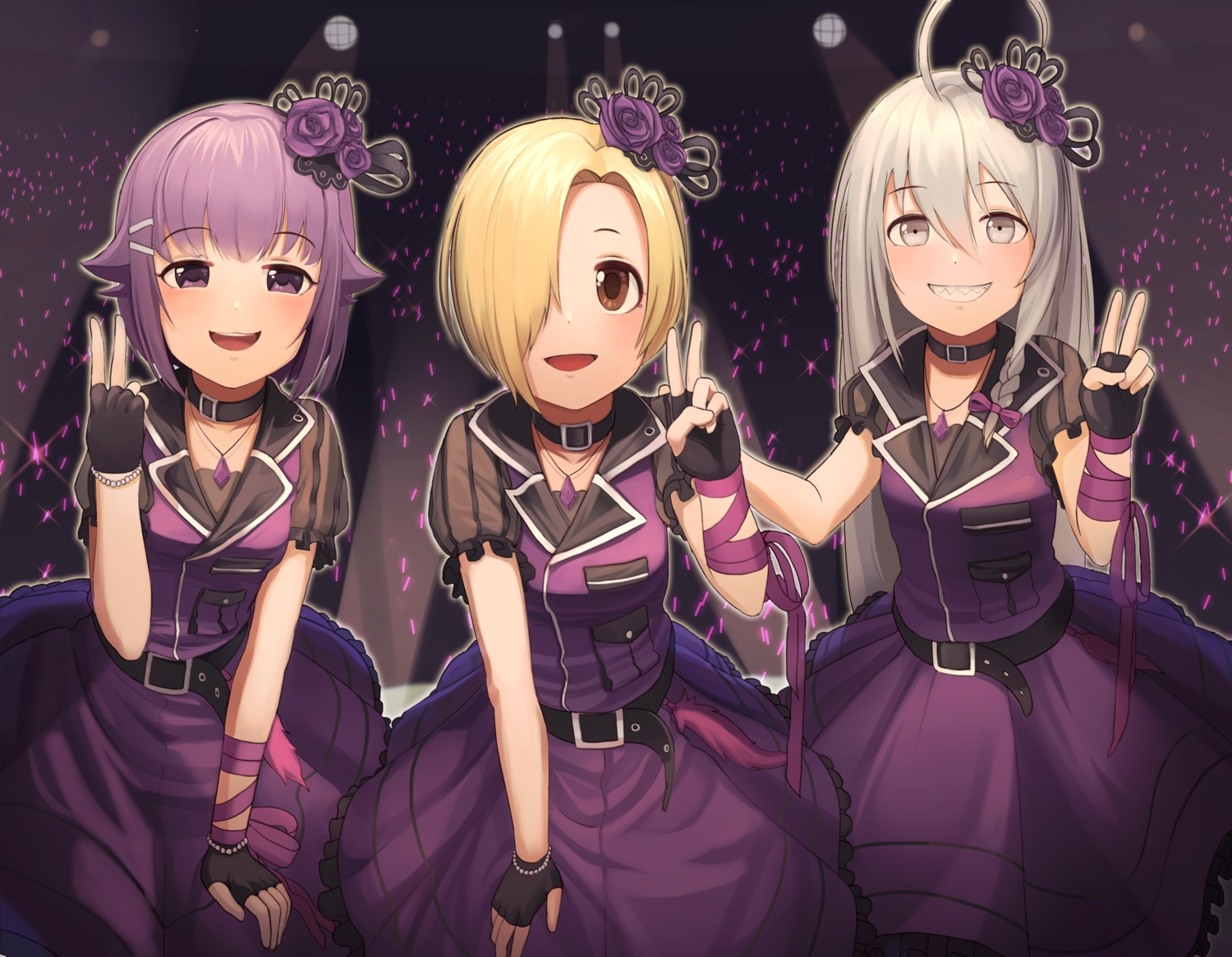 blonde_hair brown_eyes collar dress gloves goback gray_eyes gray_hair hoshi_shouko idolmaster idolmaster_cinderella_girls koshimizu_sachiko long_hair necklace purple_eyes purple_hair ribbons shirasaka_koume short_hair uniform wristwear