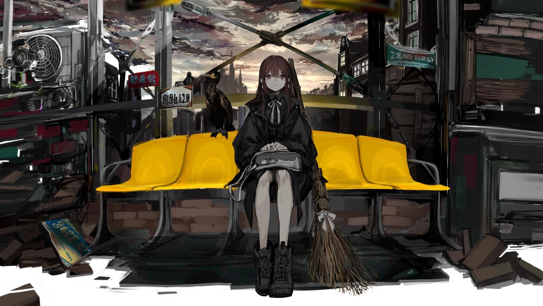 aliasing animal bird boots brown_hair building city clouds long_hair naruwe original pink_eyes sky witch