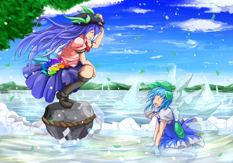 2girls blue_hair boots cirno dress fairy hat hinanawi_tenshi long_hair short_hair touhou water wings