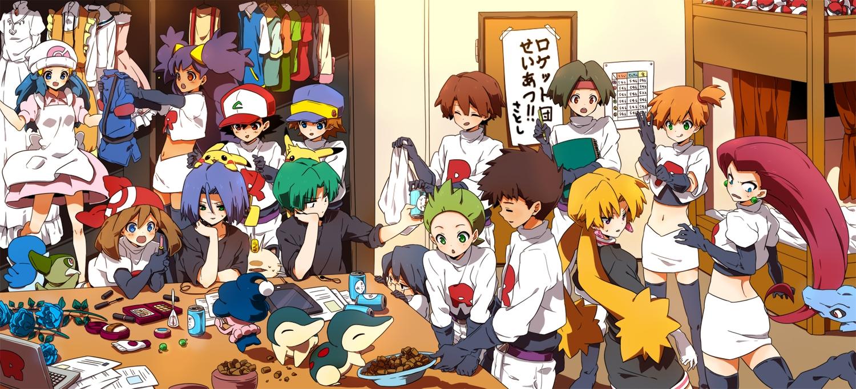 axew computer cosplay cyndaquil dent_(pokemon) dress flowers gloves group haruka_(pokemon) hat hikari_(pokemon) hiroshi_(pokemon) iris_(pokemon) kapirusu kasumi_(pokemon) kenji_(pokemon) kojiro_(pokemon) kosaburou_(pokemon) masato_(pokemon) meowth mime_jr mondo_(pokemon) musashi_(pokemon) ookido_shigeru pikachu piplup pokemon rose satoshi_(pokemon) takeshi_(pokemon) totodile yamato_(pokemon)