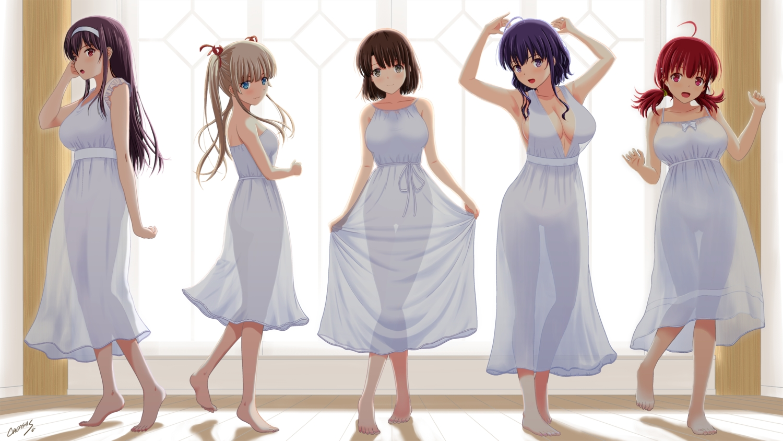 barefoot breasts cleavage dress hashima_izumi hyoudou_michiru kasumigaoka_utaha katou_megumi nopan saenai_heroine_no_sodatekata satou_chagashi sawamura_spencer_eriri see_through signed summer_dress