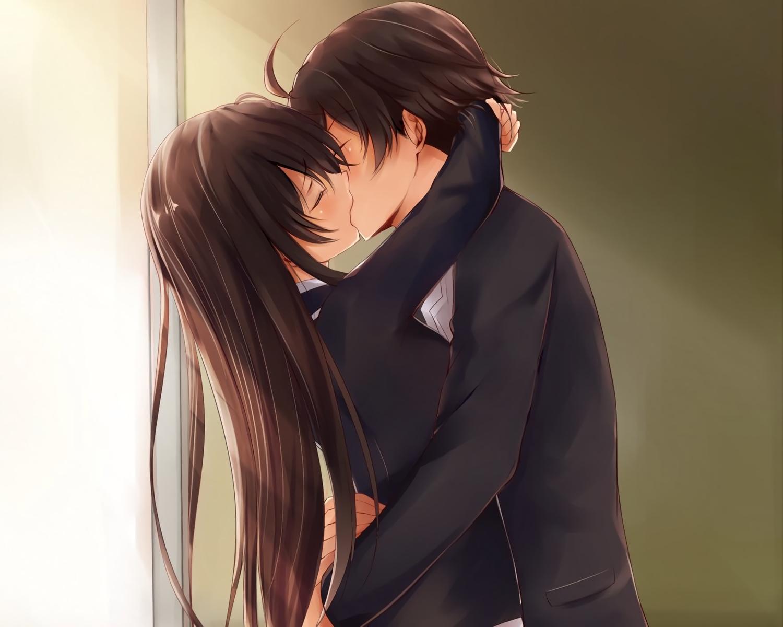 brown_hair cropped hikigaya_hachiman kiss long_hair male ponpon_(ponpon62126) school_uniform waifu2x yahari_ore_no_seishun_love_come_wa_machigatteiru. yukinoshita_yukino