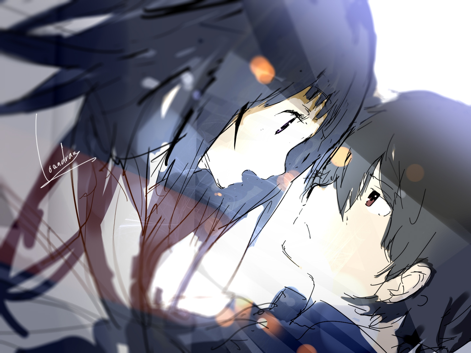 black_hair brown_eyes brown_hair chitanda_eru close hyouka loundraw male oreki_houtarou purple_eyes signed sketch