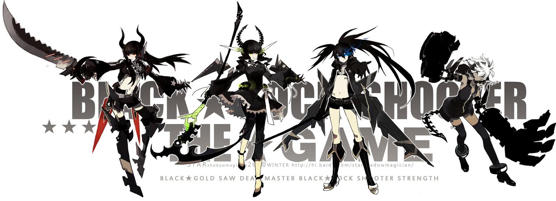 black_rock_shooter hoodie horns irino_saya koutari_yuu kuroi_mato scythe starshadowmagician sword takanashi_yomi twintails weapon white