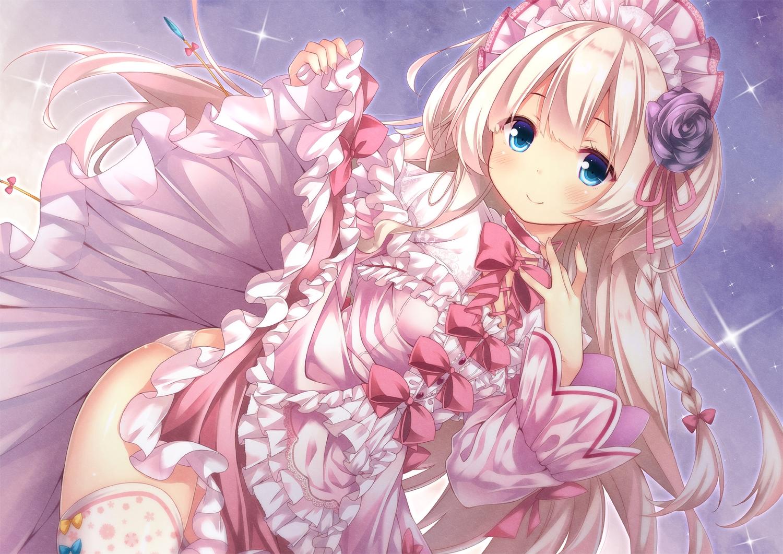 aqua_eyes blonde_hair blush bow braids dress flowers headdress lolita_fashion long_hair original panties ribbons ryo skirt skirt_lift underwear