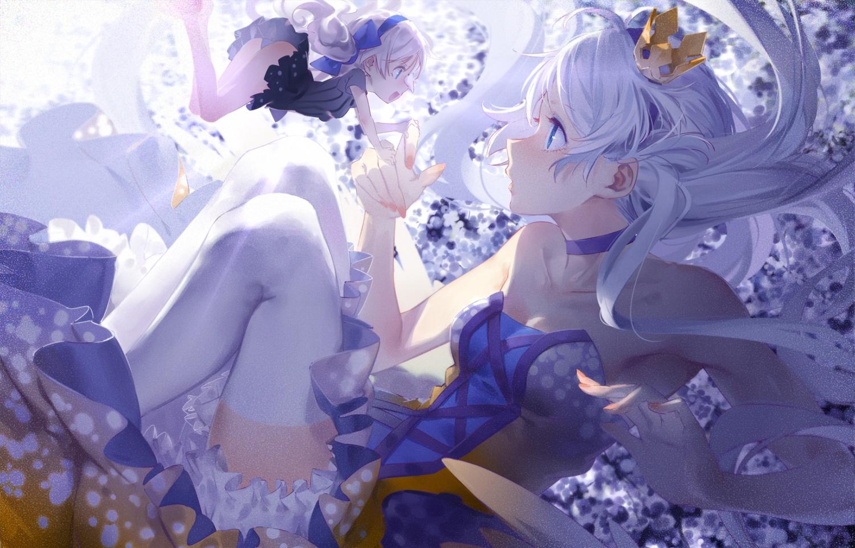 blue_eyes choker cici crown fairy headband honkai_impact kiana_kaslana long_hair white_hair