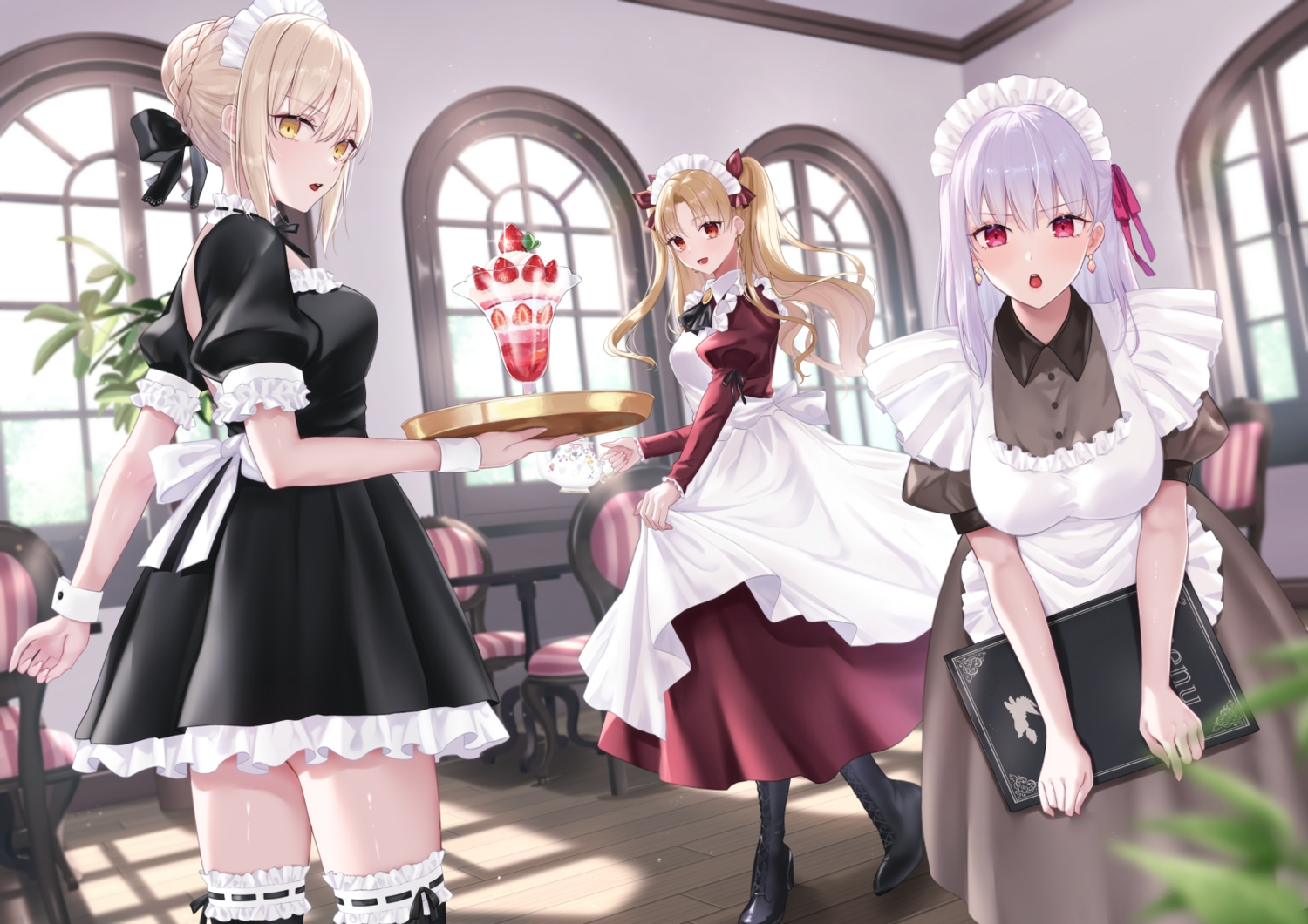 aliasing artoria_pendragon_(all) blonde_hair braids ereshkigal_(fate/grand_order) fate/grand_order fate_(series) food headband ice_cream kama_(fate/grand_order) maid meltymaple red_eyes saber saber_alter waitress yellow_eyes