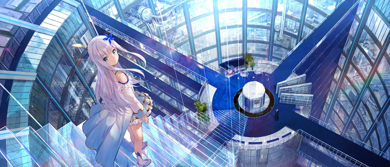 aqua_eyes dress fuji_choko kenja_no_deshi_wo_nanoru_kenja long_hair sakimori_kagami scenic stairs waifu2x white_hair