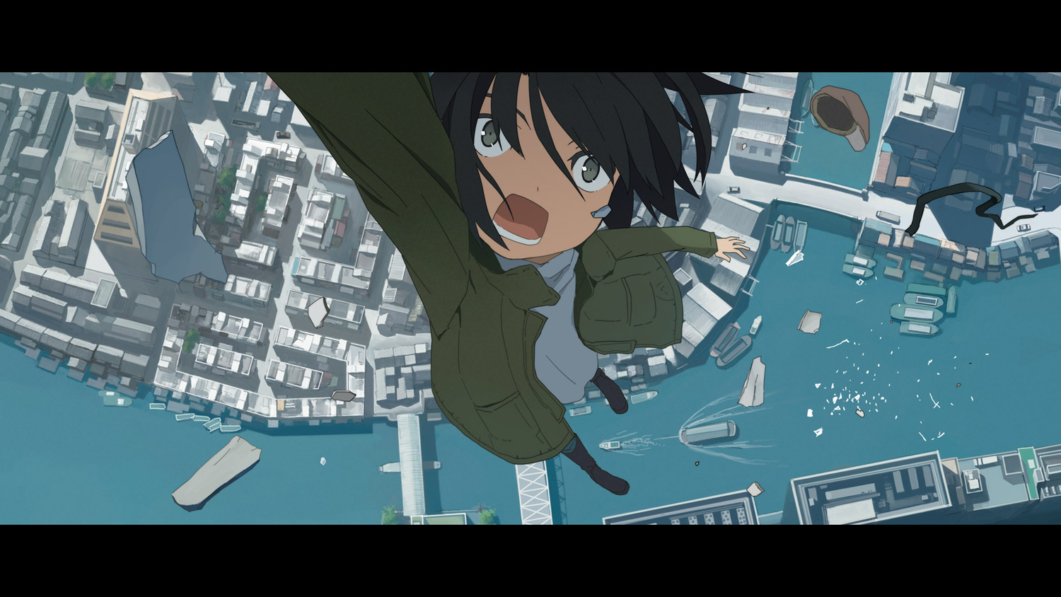 black_hair boat green_eyes hat kusakabe original sky water