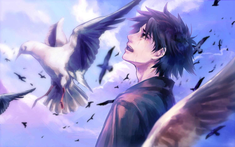 all_male animal bird emiya_kiritsugu fate_(series) fate/stay_night fate/zero male tamachi_kuwa tears