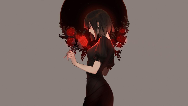 black_eyes black_hair dress e7_(runaway162) flowers gray original rose short_hair