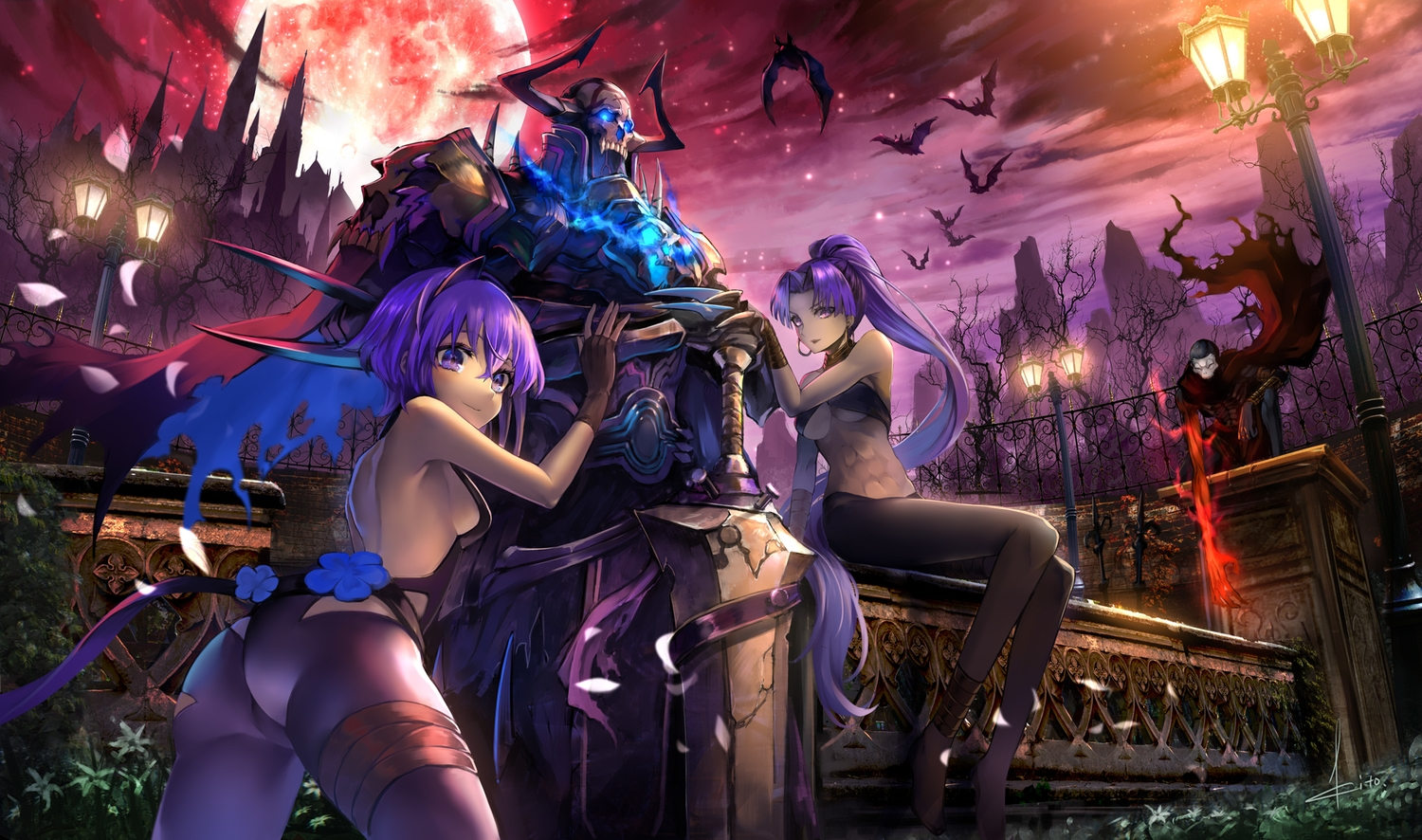 animal bat cape clouds fate/grand_order fate_(series) flowers hassan_of_serenity king_hassan kito_(kito2) long_hair male moon night ponytail purple_eyes purple_hair signed sky sword true_assassin weapon