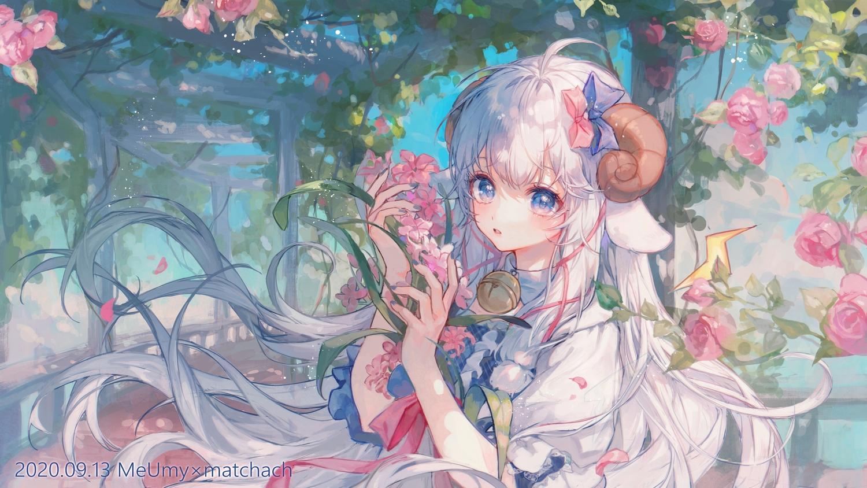 animal_ears bell flowers horns maccha_(mochancc) merry_(meumy) meumy sheepgirl watermark
