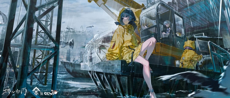 animal_ears clouds gray_hair hoodie industrial original polychromatic rain rolua sky water watermark