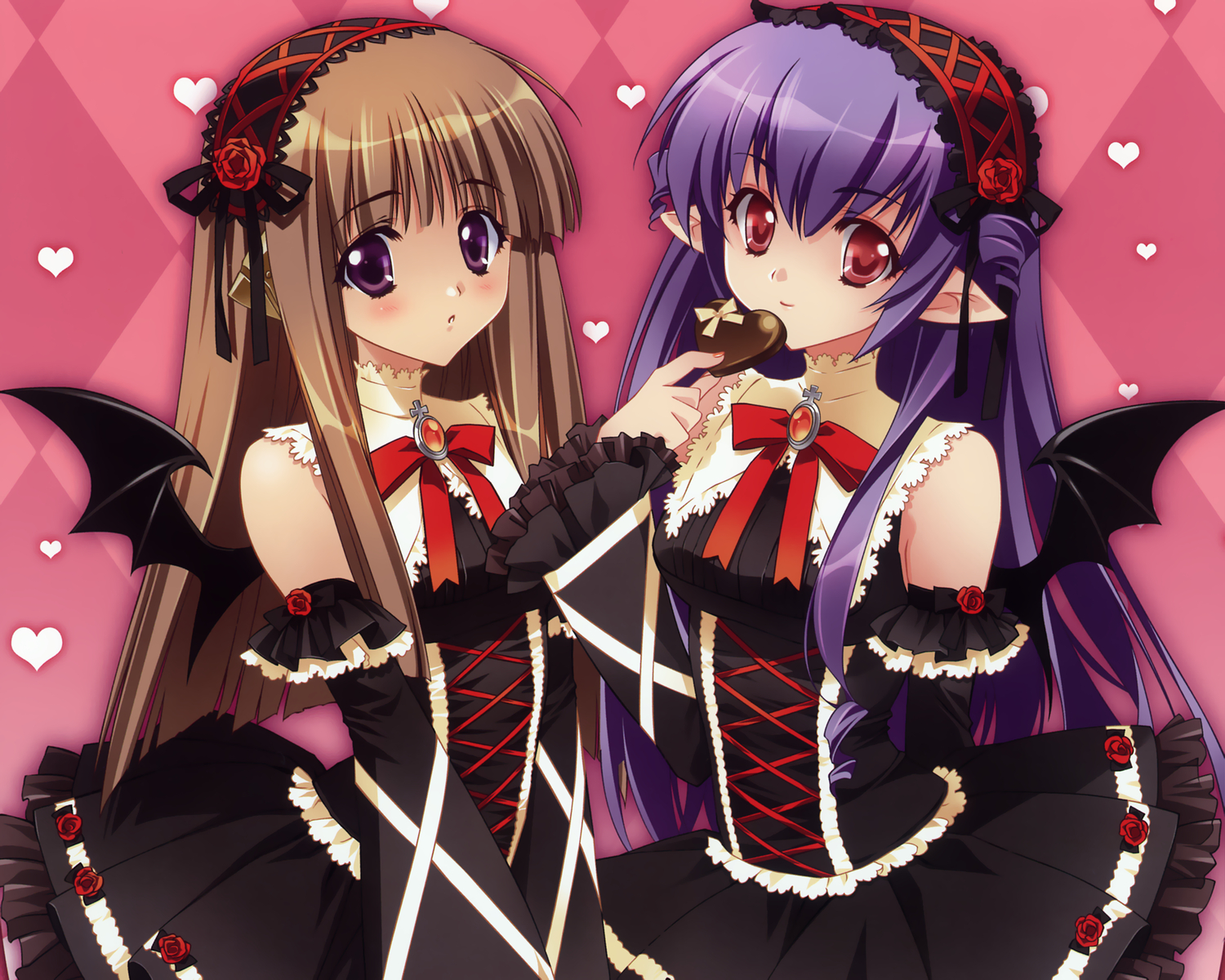 2girls brown_hair carnelian elf heart lolita_fashion long_hair original purple_eyes purple_hair red_eyes tail valentine wings