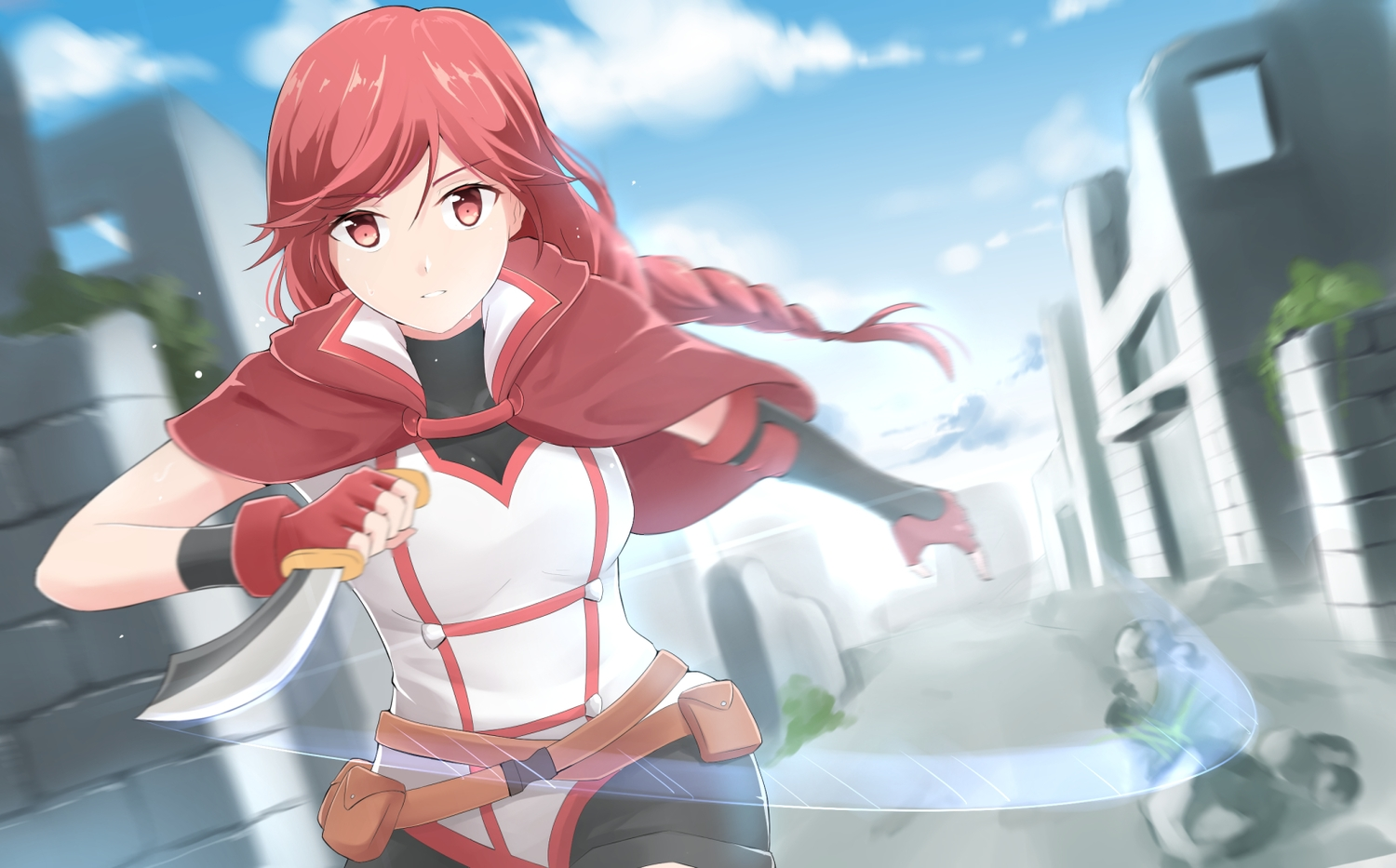 braids cape clouds elbow_gloves gloves hai_to_gensou_no_grimgar knife long_hair ponytail red_eyes red_hair shorts sky ucukrtz weapon yume_(grimgar)
