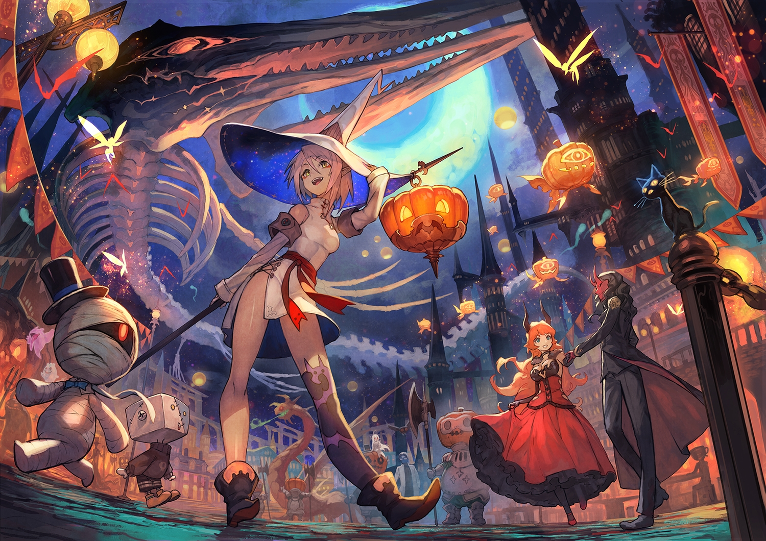 animal aqua_eyes armor bandage black_hair bones boots breasts building butterfly cat chinese_clothes chinese_dress city demon dragon dress elbow_gloves fairy fish glasses gloves group halloween hat horns lack loli long_hair male mask moon night orange_hair original pink_hair pointed_ears pumpkin red_eyes short_hair skirt_lift skull sky spear thighhighs weapon white_hair witch witch_hat yellow_eyes