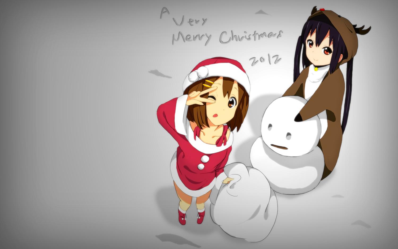 black_hair brown_eyes brown_hair christmas hirasawa_yui kaiman k-on! long_hair nakano_azusa santa_costume short_hair snow snowman third-party_edit twintails