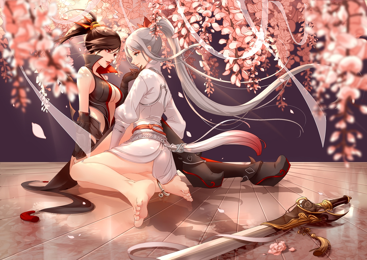 2girls barefoot black_hair cherry_blossoms clouble flowers gray_hair petals ponytail sword weapon