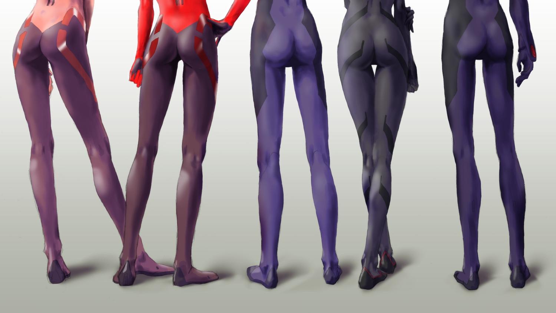 101_(lo10) ass ayanami_rei bodysuit ikari_shinji makinami_mari_illustrious male nagisa_kaworu neon_genesis_evangelion skintight soryu_asuka_langley